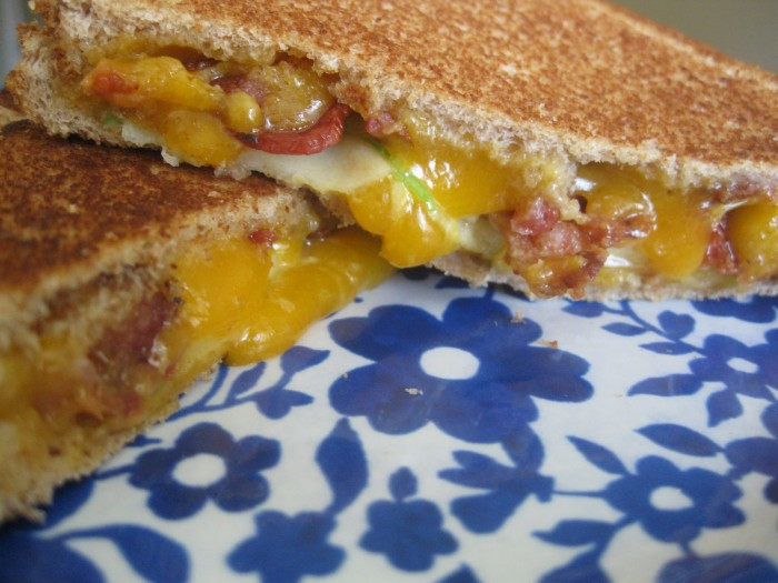 Grilled cheese apple and bacon sandwich